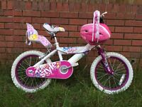 Huffy 16 Inch Kids Girl Bike + Pink Helmet