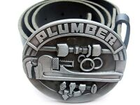 PLUMBER TOOLS TRADESMAN OVAL METAL BELT BUCKLE WITH GENUINE BLACK LEATHER SNAP ON BELT WAIST 28 - 52