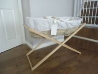Wicker Moses Basket, white cotton lining, Mattress and Stand (wooden)