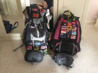 2x 70 litre backpacks & 2x travel sleeping bags