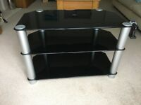 Black Glass TV 3 tiered stand