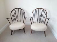 Vintage Retro Ercol Windsor Armchairs 317, Ercol Lounge Chairs, Ercol Easy Chairs x 2, Solid Elm