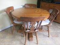 JAYCEE SOLID PINE EXTENDING TABLE & 4 CHAIRS