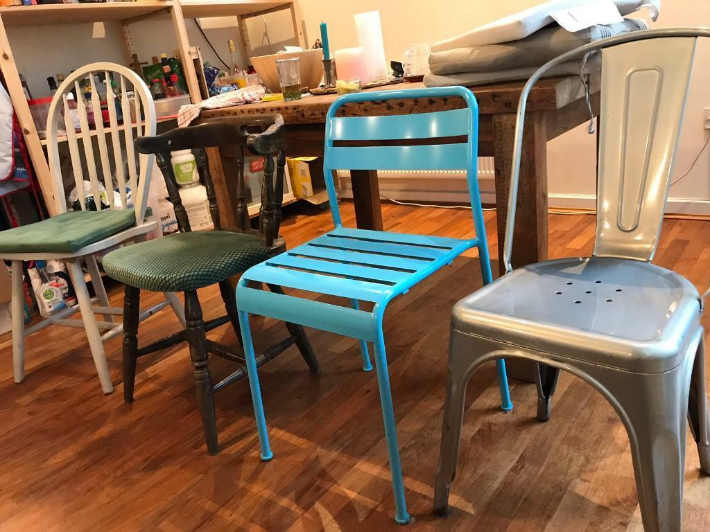 5 retro dining Chairs. Tolix/ Ercol Windsor/Captains Chairs