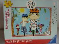 CHILDREN'S CHARLIE AND LOLA BUNDLE - FLOOR PUZZLE AND 5 BOOKS;