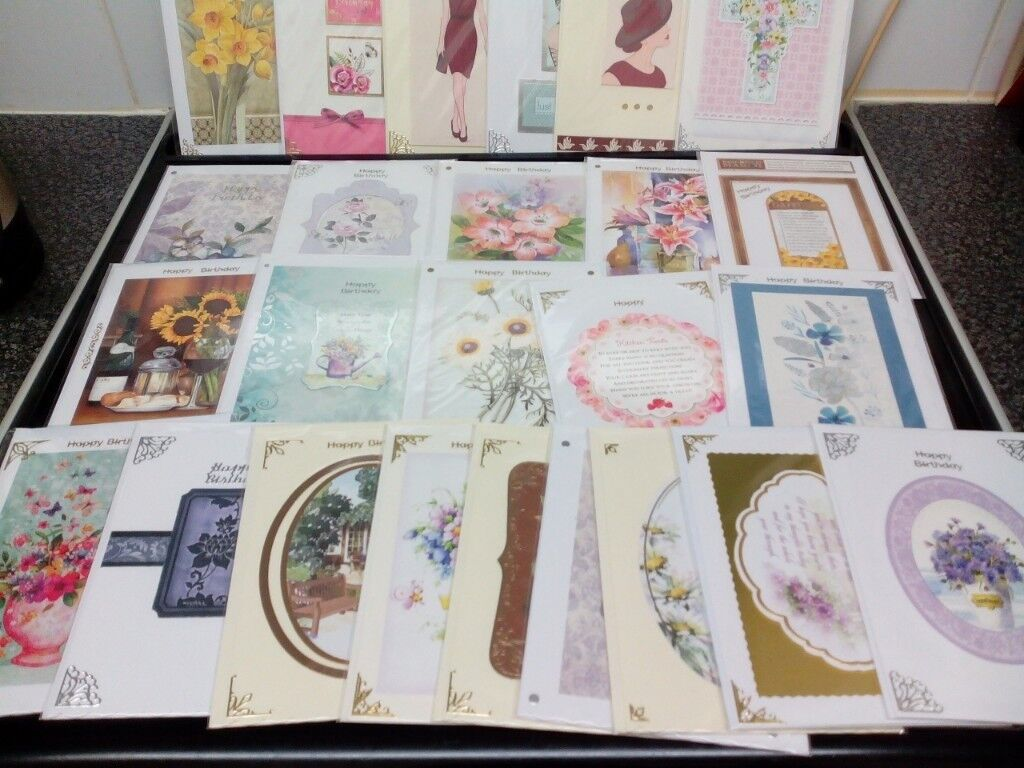 BUNDLE OF 50 HAND CRAFTED BIRTHDAY CARDS LADIES IN CELLO BAGS RESELL SIZE 7 X 5