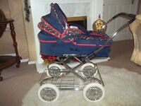 vintage silver cross dolls ultima pram/carrycot