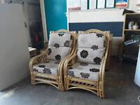 Two Cane Conservatory Chairs - Delivery Available - Sold As Set
