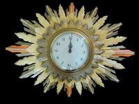 LARGE VINTAGE SMITHS SUNBURST WOOD CARVED ELECTRIC CLOCK c1950