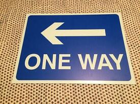Genuine one way road sign