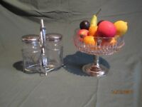 VINTAGE TABLEWARE--GLASS BOWL AND GLASS PICKLE SERVING SET
