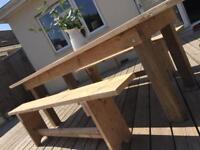 Farmhouse style scaffold furniture . Inside or outside use .