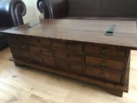 Laura Ashley Garrat Chestnut 12 drawer coffee table in great condition