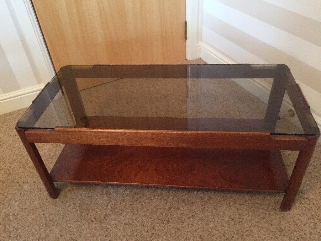 Retro 1970 S Solid Wood Smoked Glass Coffee Table