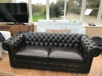 Dark Brown Chesterfield Three Seater Sofa - Superb Condition