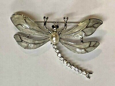Absolute Beautiful Dragonfly Silver Tone with Crystal Brooch