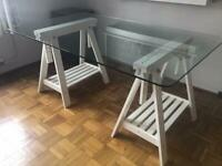 Glass trestle table