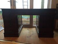 Desk kneehole in dark wood