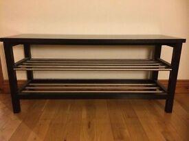 IKEA TJUSIG Bench with shoe storage, black