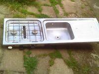 caravan stainless steel sink / drainer with 2 burner hob / grill