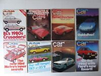Vintage editions of CAR Magazine. 8 issues from 1980.