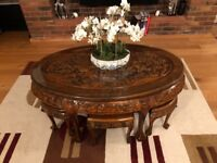 Oriental Chinese hand carved coffee table With 6 stools