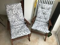 IKEA Reclining Garden Chairs with Cushions, adjustible and foldable