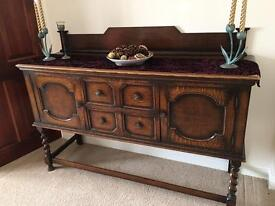 Oak sideboard dining table and six chairs