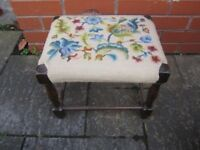 Vintage Retro Mid Century Antique needlepoint top Foot Stool table