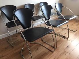 6 Black Leather & Chrome Dining Chairs
