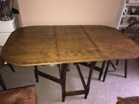 Solid Wood Dropleaf Dining Table & 4 x Chairs