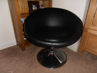 "Small Black Faux Leather Swivel Chair with Chrome Base approx 26"" high"