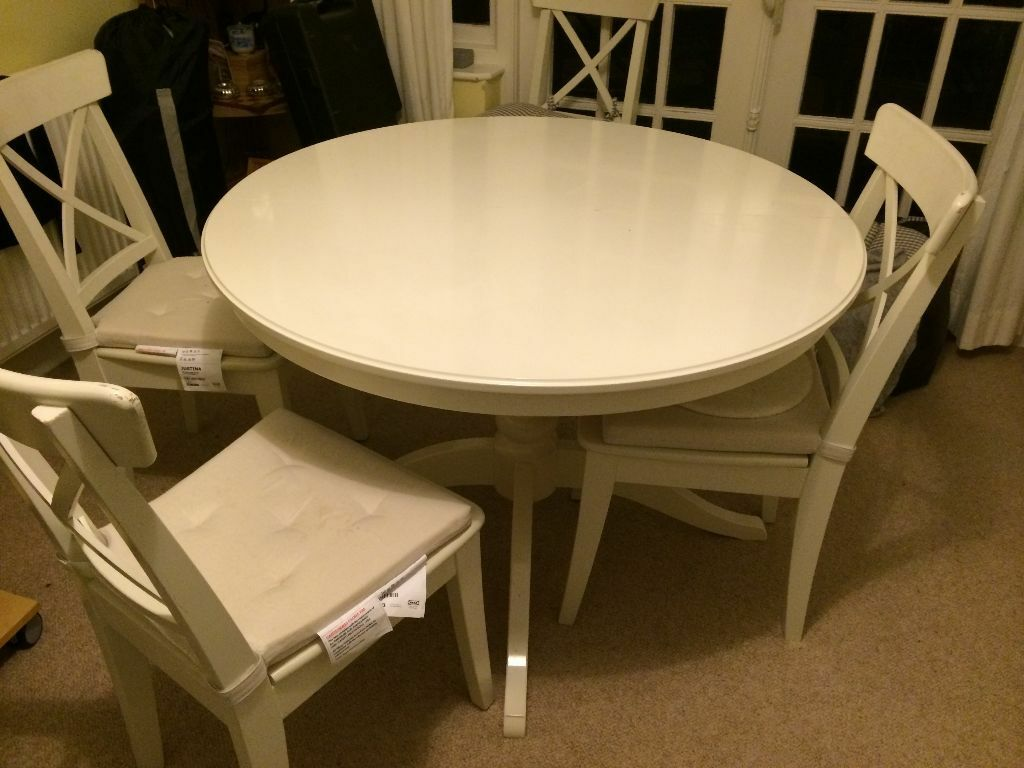 Ikea Ingatorp Extendable Table In White With 2 Matching Chairs All Vgc