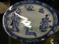 Large Japanese antique meat plate tray china crockery blue and white