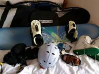 Snowboard, boots, bindings, accessories
