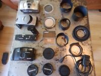 Mixed Job Lot of Cameras, Lens Covers, Filters and Hoods