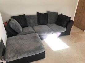 Gabrielle Jumbo Cord Left Hand Corner Sofa - Charcoal