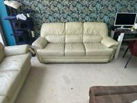 3+3+1 3pc Leather sofa set cream real genuine leather