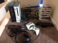 Two Xbox 360 consoles, kinetc and 20 games