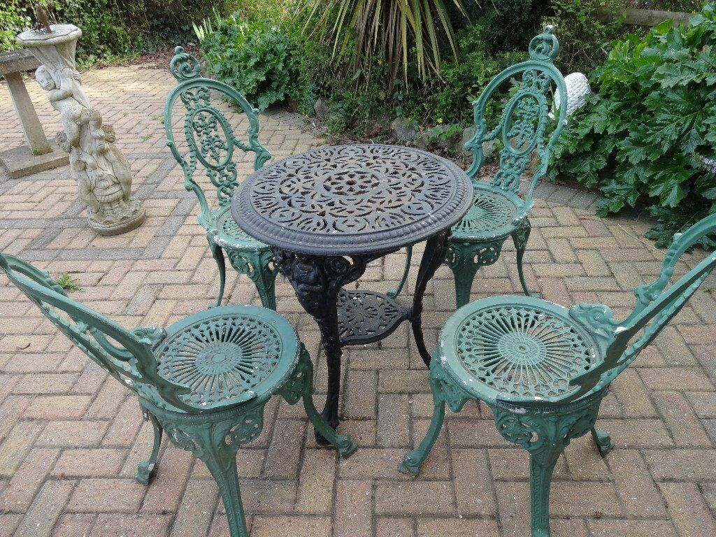 garden furniture set cast iron table and 4 cast. Black Bedroom Furniture Sets. Home Design Ideas