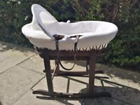 MOSES BASKET with stand - WHITE WAFFLE BROWN - £25 ONO