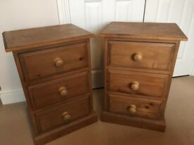 A Pair of Solid Pine Bedside Tables with drawers