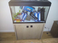 Fluval Roma 125 fish tank also Oak Cabinet