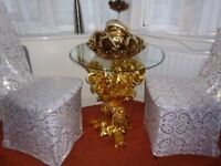 Glass table with gold colour stand with diamonte was £350