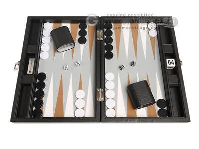 13-inch Premium Backgammon Set - Travel Size - Black Board, White and Rum Points