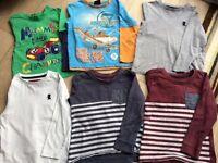 6 x long sleeved toddler boys tops