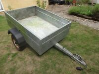Galvanised steel box trailer with lights. Good tyres. Sturdy construction.