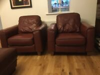 Two full leather armchairs Now Reduced