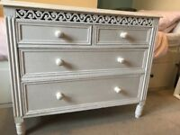 Shabby chic belgravia white chest of drawers