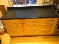 kitchen cabinets/storage/worktop